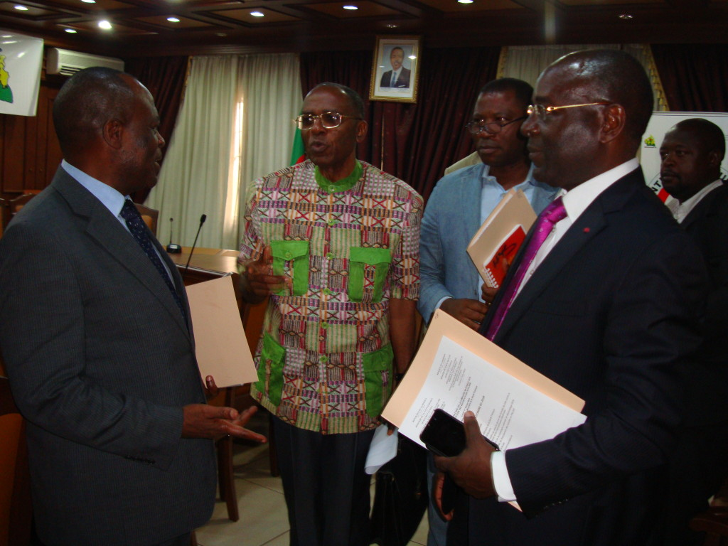 Left to right: WHO representative to Cameroon, Director of Perspective Cameroon,Director of Helen Keller International, Cameroon, and the Permanent Secretary of the National Programme for the Control of Schistosomiasis and STH