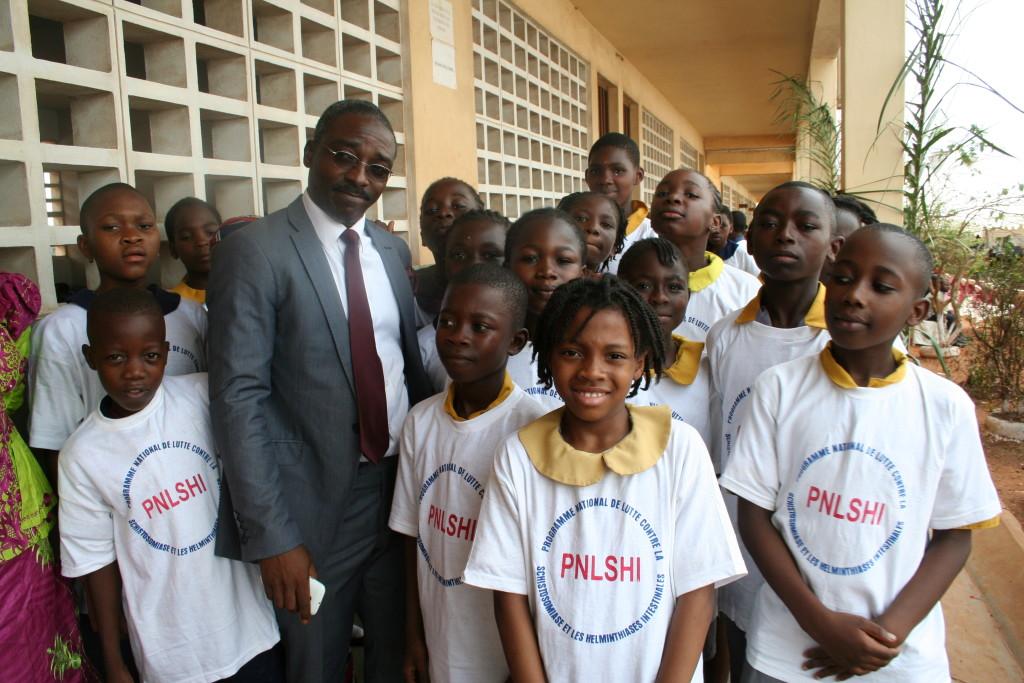School children preparing to sing the National Anthem